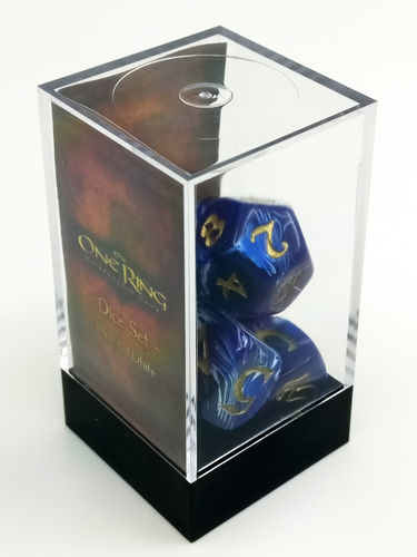 The One Ring - Dice Set Blue and White (1 set of 7 dice)