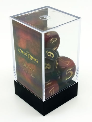 The One Ring - Dice Set Red and Black (1 set of 7 dice)