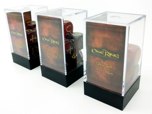 The One Ring - Dice Set Red and Black (3 sets, 7 dice per set)